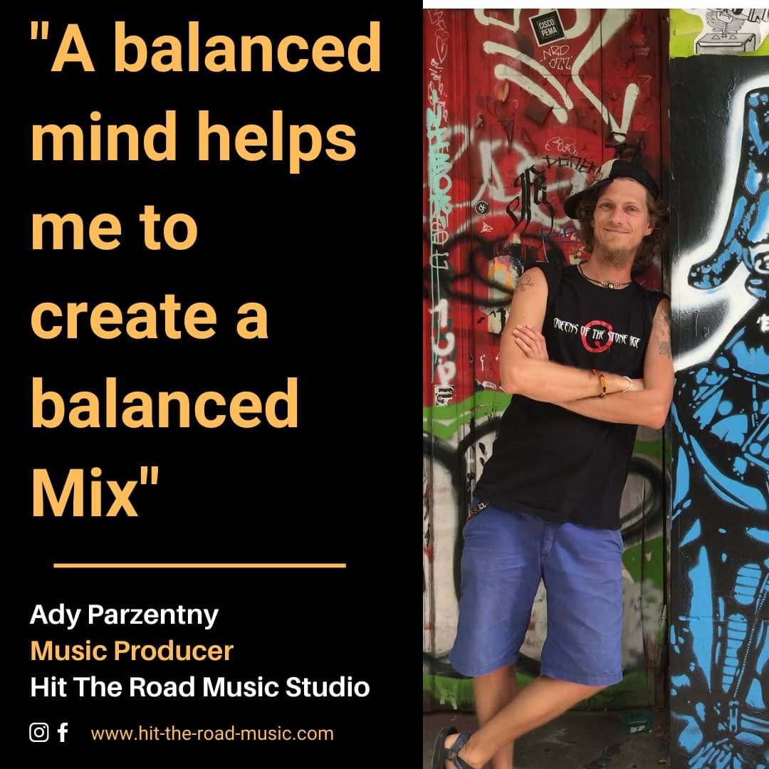 A balanced mind helps me to create a balanced mix | Ady Mixing Engineer from Hit The Road Music Studio at a painted wall